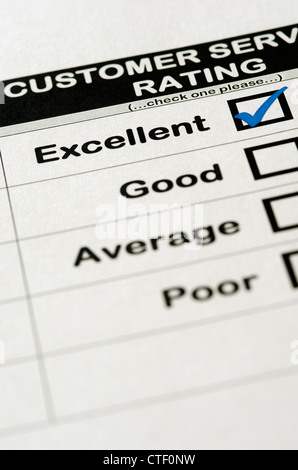 Servizio clienti Sondaggio con valutazione Eccellente scelto Foto Stock