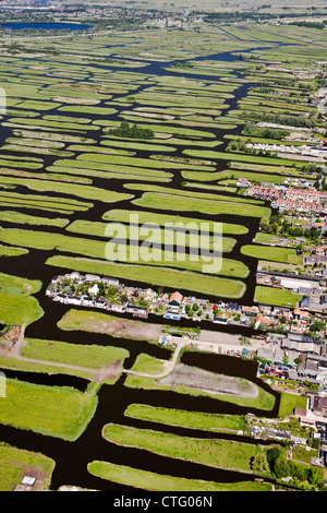 I Paesi Bassi, Jisp, antenna, paesaggio di polder. Foto Stock