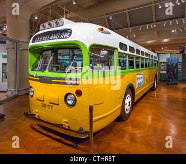 Bus sul quale Rosa Parks ha rifiutato di rinunciare al suo seggio in Montgomery nel 1955, il Museo Henry Ford, Dearborn, Detroit, Michigan, Stati Uniti d'America