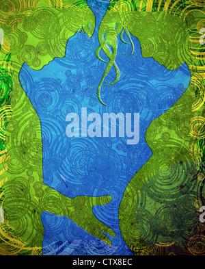 Uomo di toccare la gravidanza pancia verde e blu illustrazione Foto Stock