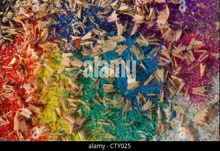 Matita colorata trucioli Foto Stock