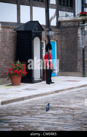 Una guardia scozzese in uniforme tradizionale in piedi al di fuori della sua casella di sentinella a guardia Queen's Foto Stock