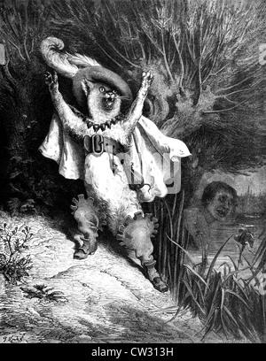 Il gatto con gli stivali con scorrimento vuoti disegnati in