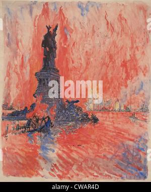 La città di New York, bombardato, abbattuto, bruciore, soffiata dal nemico, è come l'artista Giuseppe Pennell descritto Foto Stock