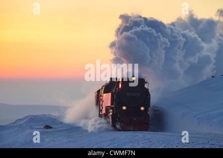 Treno a vapore Equitazione il Brocken ferrovia a scartamento ridotto linea nella neve in inverno presso il Parco Foto Stock