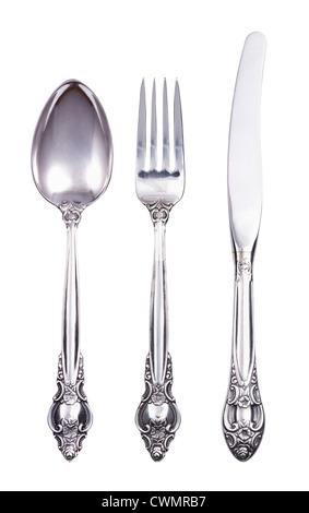 Retrò set di posate con una forchetta e coltello cucchiaio isolato su bianco Foto Stock