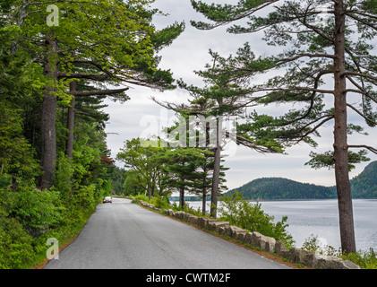 Auto su Sargent Drive al fianco di suono Somes nel Parco Nazionale di Acadia, isola di Mount Desert, Maine, Stati Foto Stock