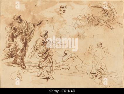 Giovanni Benedetto Castiglione (italiano, 1609 o prima - 1664 ), Studi per una scena biblica Foto Stock