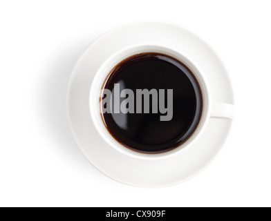 Vista dall'alto nero della tazza di caffè isolato su bianco Foto Stock