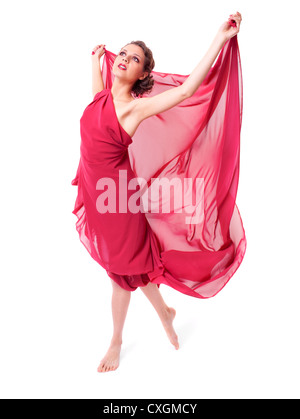 Bella donna in rosso vestito di volo Foto Stock