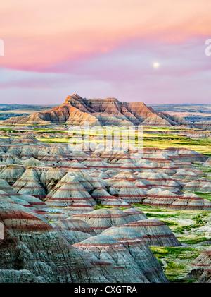 Formazioni colorate nel Parco nazionale Badlands, Dakota del Sud Foto Stock