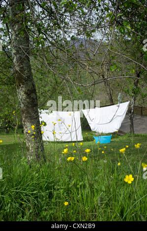 Linea di lavaggio in giardino Foto Stock