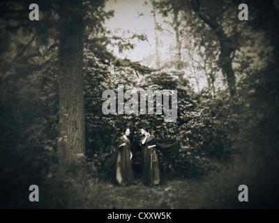 Una immagine da sogno di due donne a piedi tra gli alberi in un legno vintage.