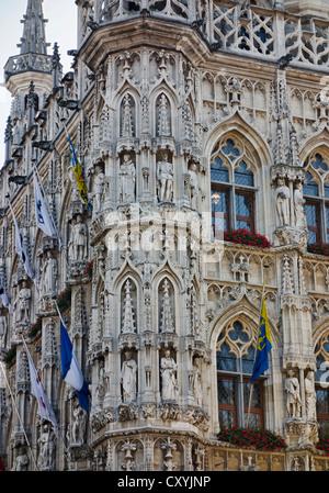 Town Hall, Grand Place, Grote Markt, Leuven, Fiandre, in Belgio Foto Stock