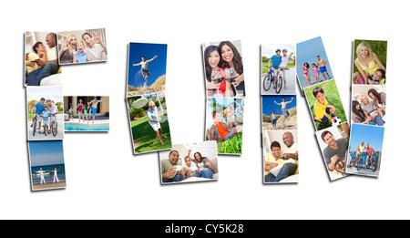 Concetto di divertimento montage di uomini donne bambini famiglie giocare insieme essendo attivi, ridendo e divertirsi insieme