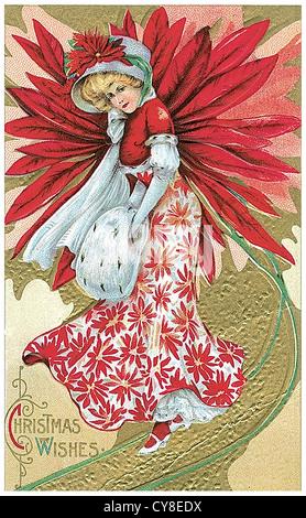 La donna in un abito rosso come un fiore Foto Stock