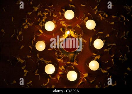 Lampade decorative in occasione di festa di Diwali Foto Stock