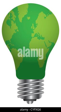 Lampadina con mappa del mondo Go Green illustrazione isolati su sfondo bianco