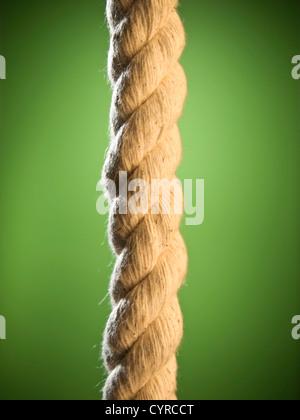 In prossimità di una corda marrone su sfondo verde. Foto Stock