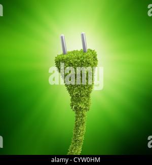 Ricoperto di erba spina elettrica - Energie rinnovabili concetto Foto Stock
