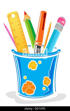 Illustrazione di penne e matite in scatola su sfondo isolato Foto Stock