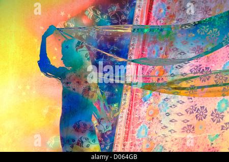 Ragazza indiana con stella e motivi floreali veli nel vento. Silhouette. Colorato montage Foto Stock
