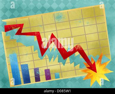 Grafico a linee che mostra il crash di economia Foto Stock