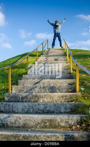 Le scale che portano al successo Foto Stock