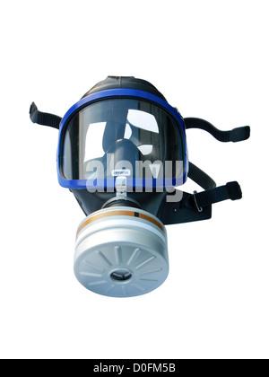 Maschera a gas isolato su bianco con tracciato di ritaglio