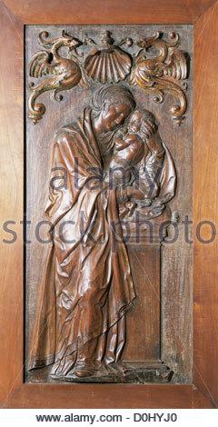 Diego Siloe (1495-1563). Vergine con Bambino, 1544. Legno. Museo di Belle Arti. Granada. Spagna. Foto Stock