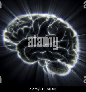 Schema del cervello umano che emana raggi di luce. Foto Stock