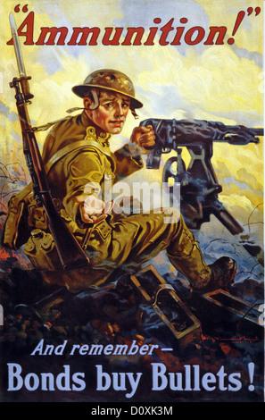 USA, 1918, la I guerra mondiale, americano, propaganda, poster, soldato, mitragliatrice, battaglia, raggiungendo, Foto Stock