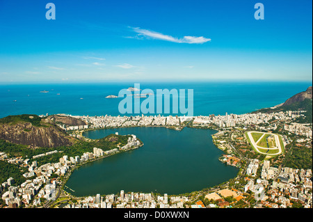 Vista aerea della Lagoa Rodrigo de Freitas, Rio de Janeiro, Brasile Foto Stock