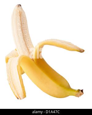 Aprire banana isolato su sfondo bianco Foto Stock