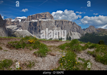 Massiccio del Sella dal Passo Sella, Dolomiti, Italia Foto Stock