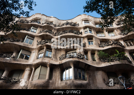 Mila casa (o La Pedrera di Antoni Gaudì Barcellona, Catalunya (Catalogna) (Cataluña), Spagna, Europa Foto Stock