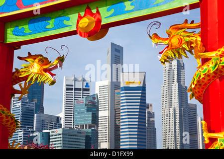 Skyline della città e dal quartiere finanziario di Singapore, Asia sud-orientale, Asia Foto Stock