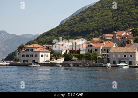 Case sul bordo della Baia di Kotor, Montenegro, Europa Foto Stock