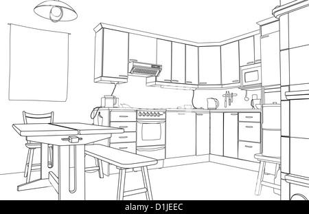Disegna mobili cucina interna Illustrazione Vettoriale: 135361775 ...
