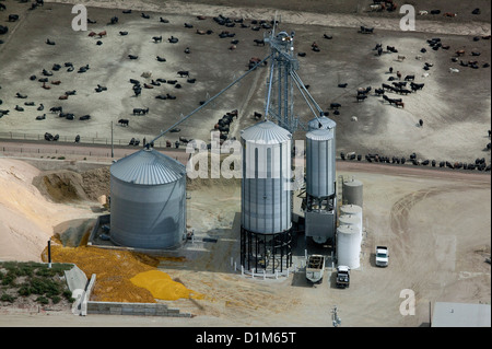 Fotografia aerea grano deposito bidoni bovini feedlot Nebraska Foto Stock