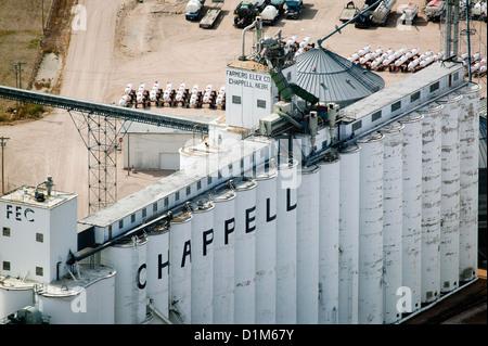 Fotografia aerea agricoltori ascensore società Chappell, Nebraska Foto Stock