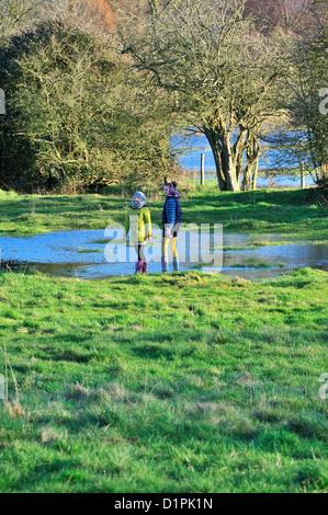 Bambini su un Capodanno 2013 camminando accanto al fiume allagata Windrush , tra Burford e Swinbrook, Cotswolds, Foto Stock