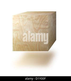 Cubo di legno contro uno sfondo bianco Foto Stock