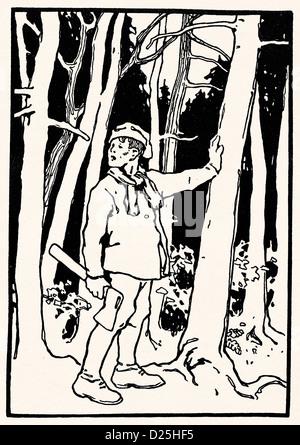 Tree feller con ax sulla struttura ad albero Foto Stock