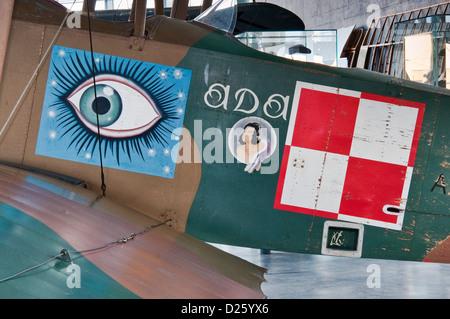 Marcature sulla fusoliera di Albatros B.II, Tedesco WW1 biplano, servendo in guerra Polish-Soviet, polacco Aviation Foto Stock