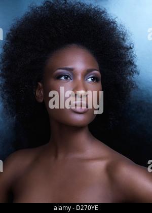 Bellezza ritratto di una giovane americano africano donna con grandi capelli naturali Foto Stock