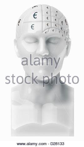 Euro segni cerebrali di copertura sul busto Foto Stock