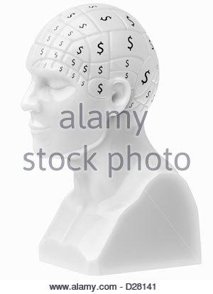 Segni di dollaro che coprono cervello sul busto Foto Stock