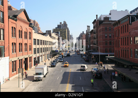 14Th Street, Meatpacking District e alla moda quartiere di downtown Manhattan, New York City, Stati Uniti d'America Foto Stock