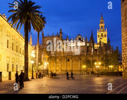 Cattedrale di Siviglia (Catedral) e la Giralda di notte Foto Stock